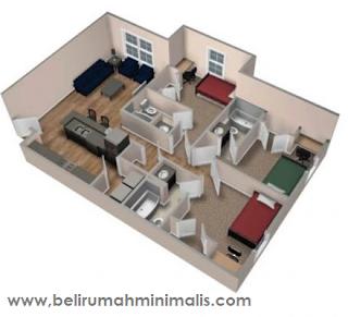 Denah rumah minimalis sederhana type 21