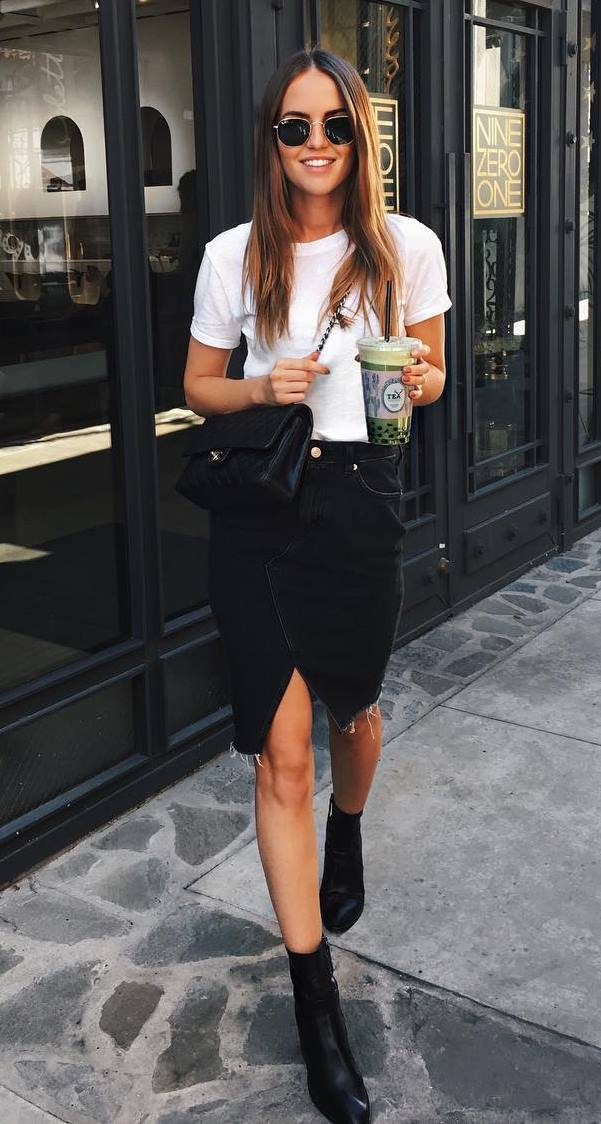 ootd | white tee + black bag + denim skirt + boots