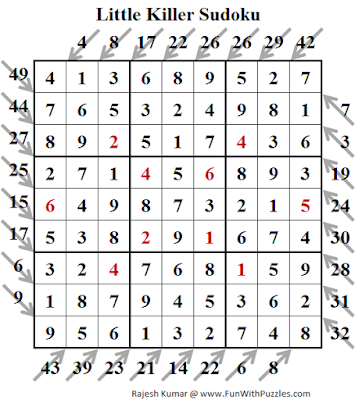 Little Killer Sudoku (Fun With Sudoku #139) Solution
