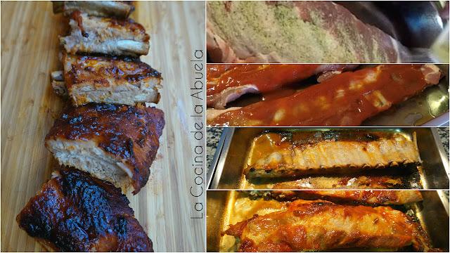 Costilla cerdo asada agridulce Receta fácil.