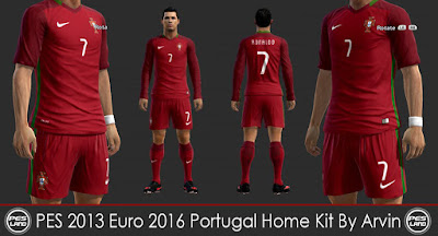 PES 2013 Euro 2016 Portugal Home Kit By Arvin