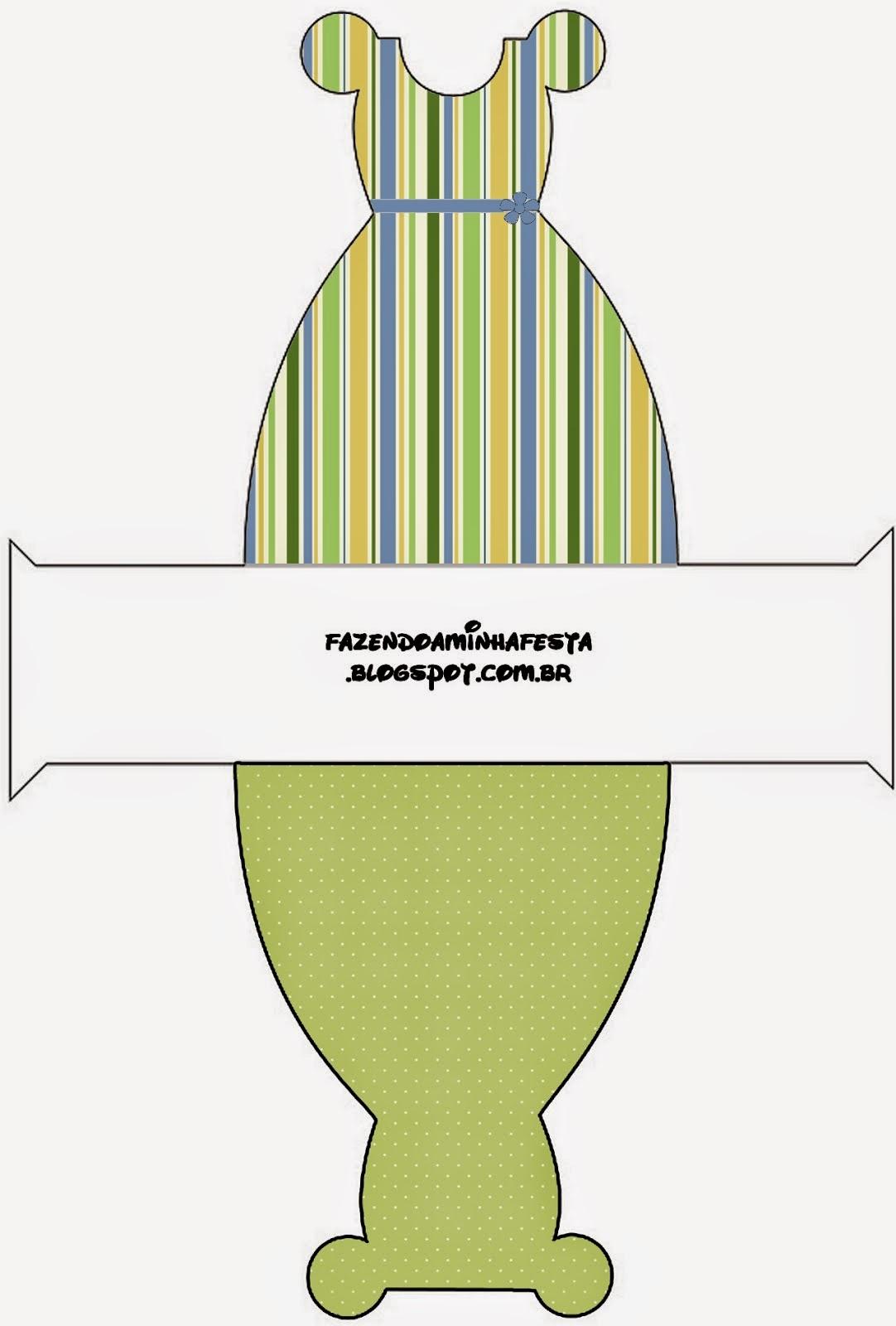 Green, Blue and Orange, Free Printable Dress Box.