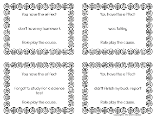 Practice cause and effect for any subject with these free role play cards!