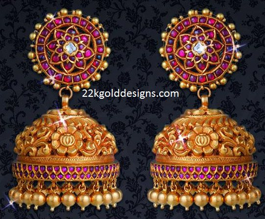 Traditional Ruby Gold Jhumkas