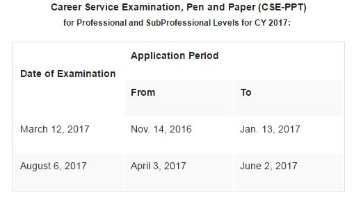 civil service exam (CSE-PPT) schedule for 2017