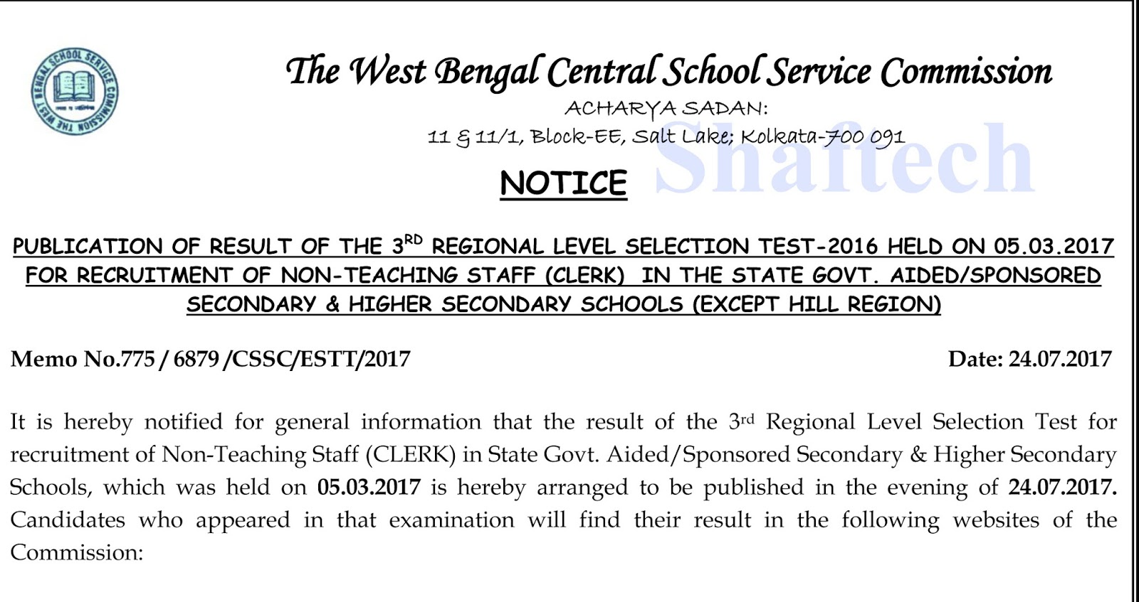 School Clerk Shaftech Publication Of Result Of The Clerk Rlst In The State