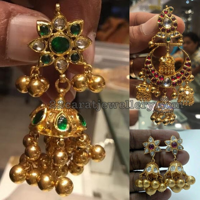 Soft Gold Balls Bejeweled Jhumkas