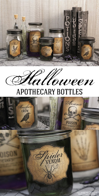 Halloween Apothecary Bottles created using recycled glass jars and free printable - Halloween Bottle Labels by Juliana Michaels 17turtles.com