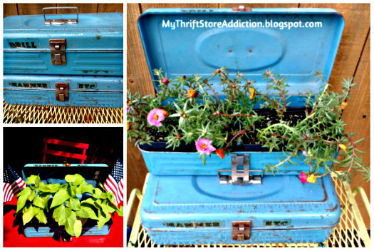 Repurposed toolbox planters