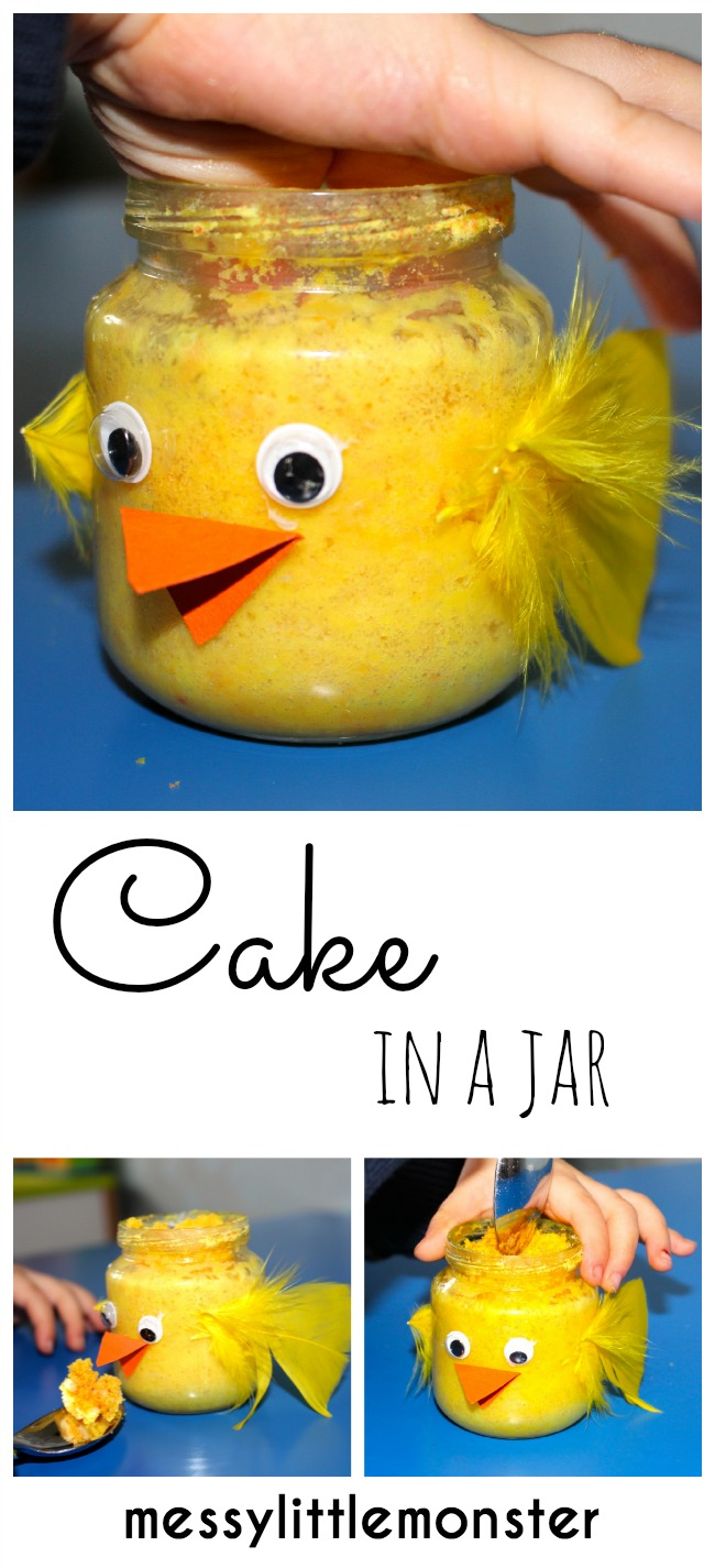 Cake in a jar- A fun Easter Chick food and craft activity for kids.