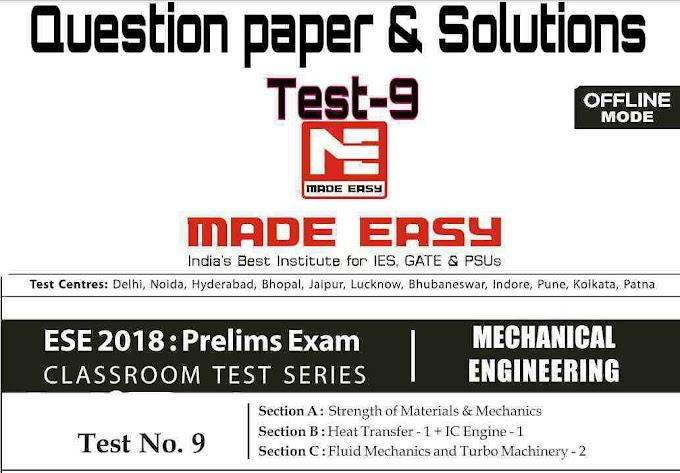 ESE OFFLINE TEST-9 MECHANICAL [MADE EASY]
