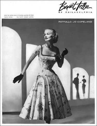 Sunny Harnett in Silk Shantung Dress by Pattullo-Jo Copeland for Bonwit Teller in Vogue November 15, 1951