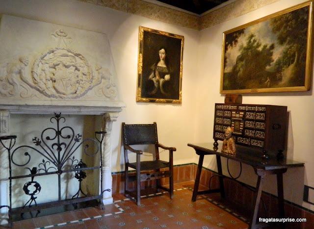 Recriação de uma sala de estar do Século 16 no Museu Casa de El Greco, Toledo, Espanha