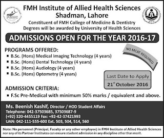 FMH Institute of Allied Health Sciences Shadman Lahore Admission Notice