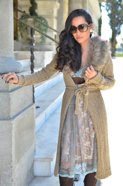roberto cavalli brown boots gucci bamboo sunglasses ashley faux fur sweater serenity and chocolate lace mystic dress vintage iridescent crystal earrings