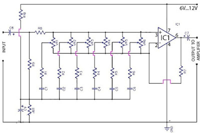 6 Band Graphic Equaliser Circuit with IC 741 Op-Amp