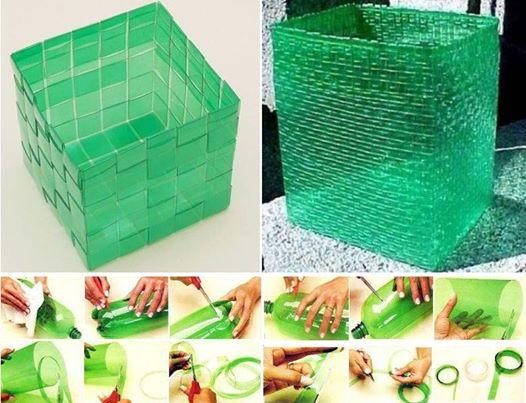 Cesto para basura hecho con botellas de plástico recicladas