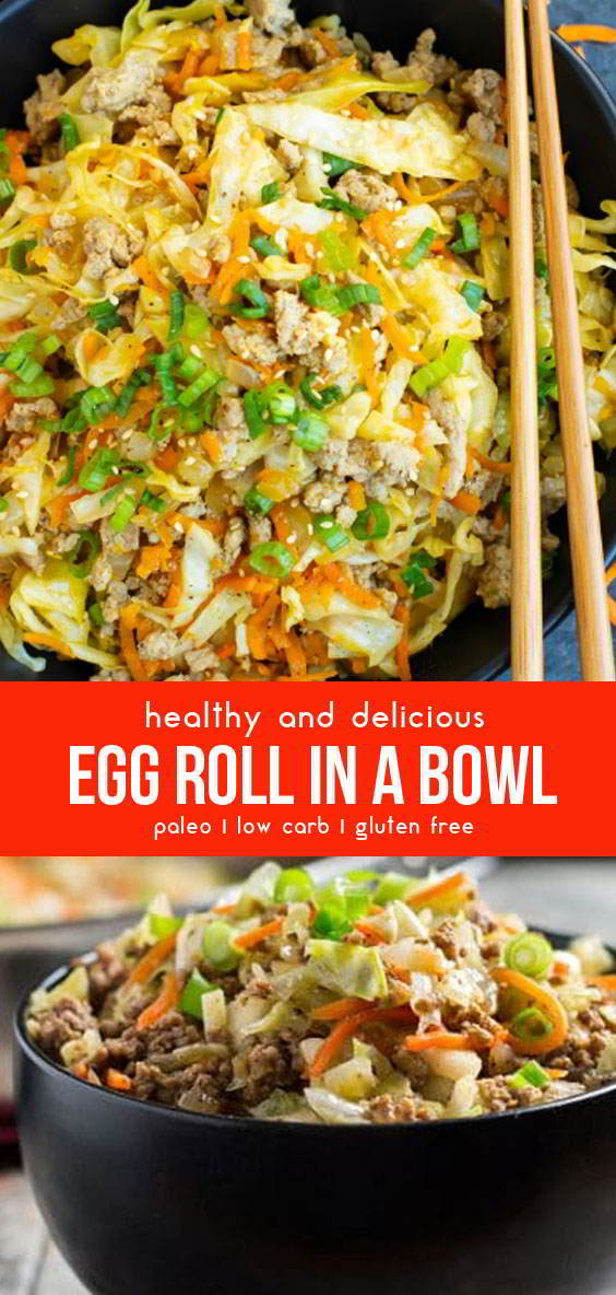 Healthy & Delicious Paleo Egg Roll In A Bowl