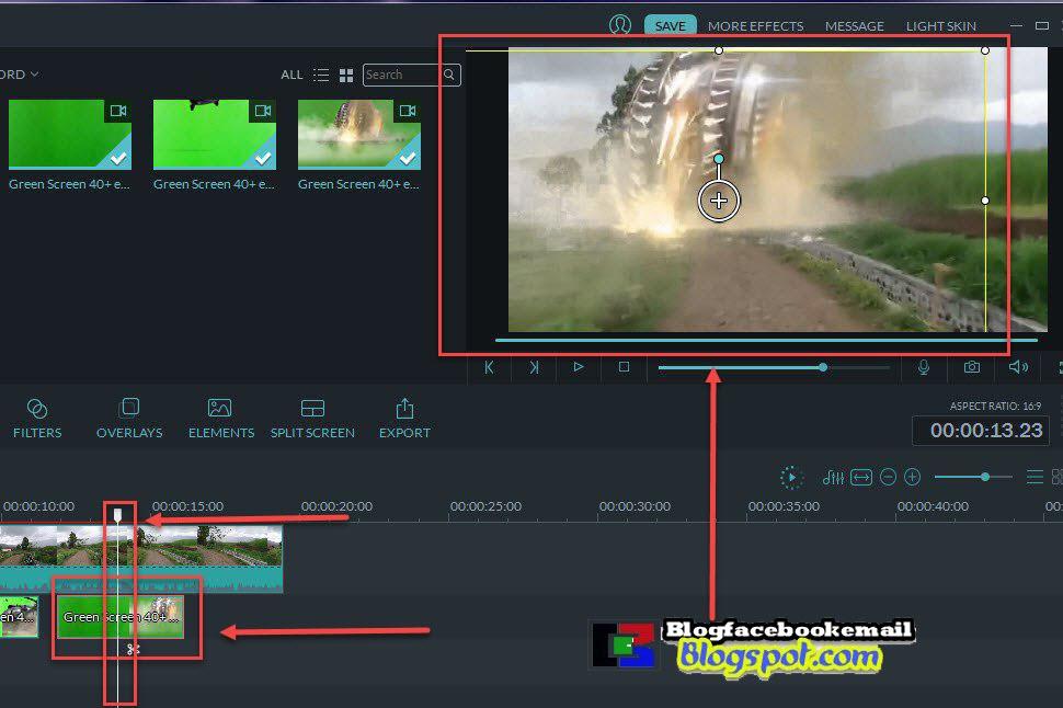 mengatur posisi yang tepat di video greenscreen effect