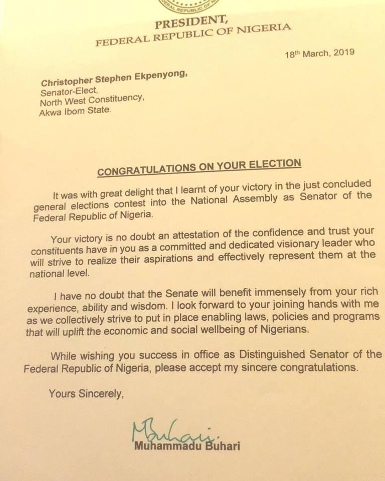 e-NATION WATCH: Buhari Congratulate Senator-elect, Obong