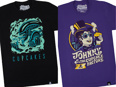 "Alien ""Cake Burster"" & Charlie and the Chocolate Factory ""Cupcake Factory"" T-Shirts by Johnny Cupcakes"