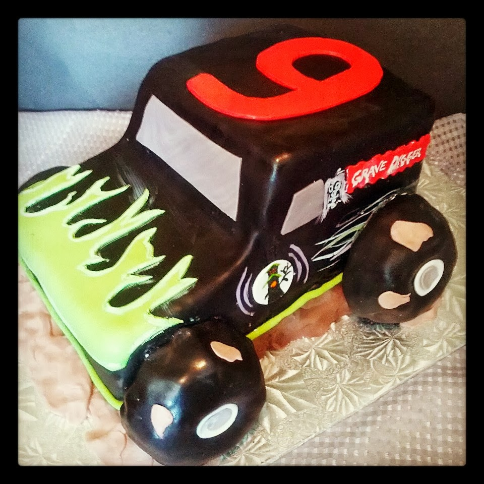 I Made This Cake For A 9th Birthday Party The Boy Was HUGE Grave Digger Fan Every Part Of Is Truck Stacked And Carved Sheet