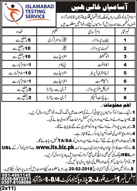 Jobs in Islamabad Testing Service Jobs 2018