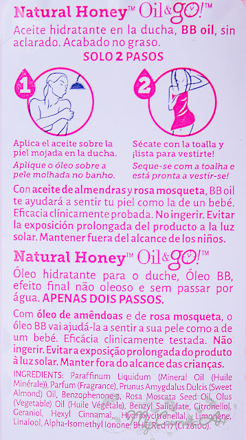 Oil&Go de Natural Honey: aceite hidratante en la ducha.