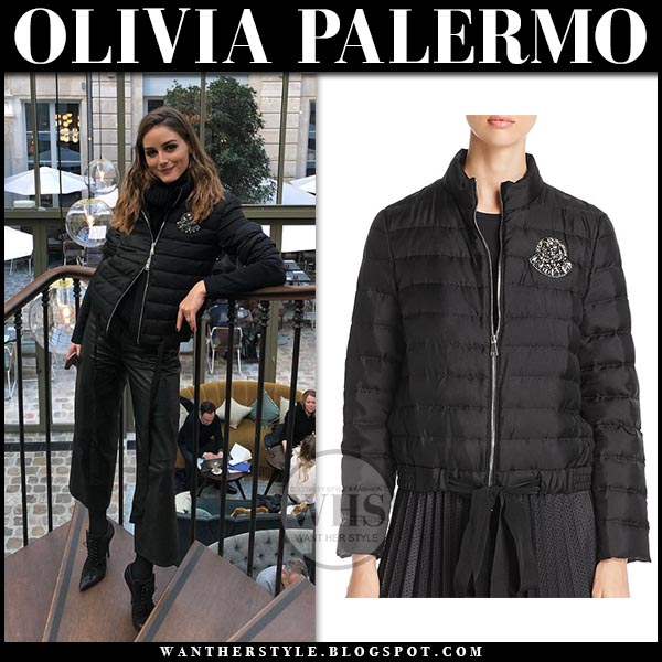 8d98aedaa94e Olivia Palermo in black quilted zip Moncler jacket, black leather pants and  point toe Givenchy