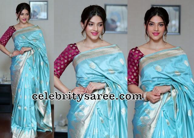 Mehreen Pirzada Sky Blue Silk Saree