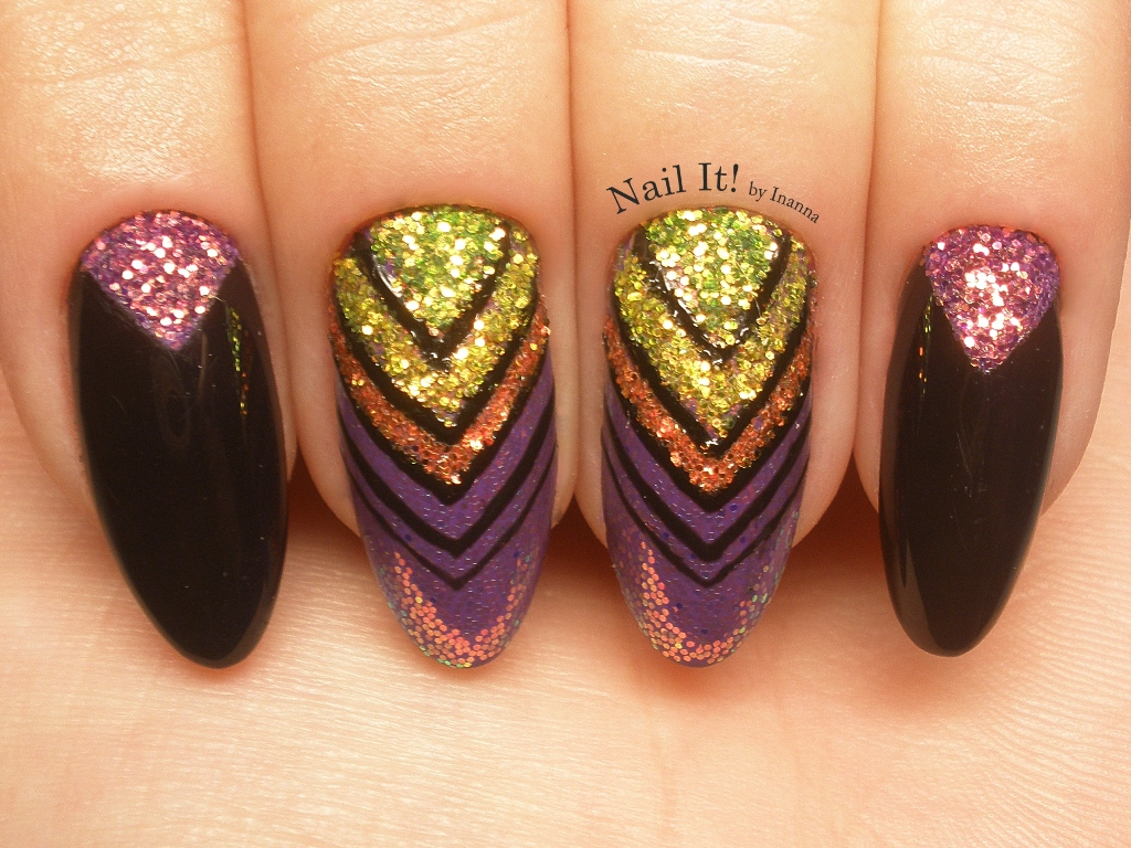 Indigo Nails Pixel Effect Neon Nail Art