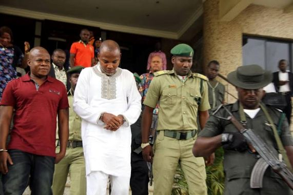 Biafran leader, Nnamdi Kanu, in court today, refuses to remove handcuffs