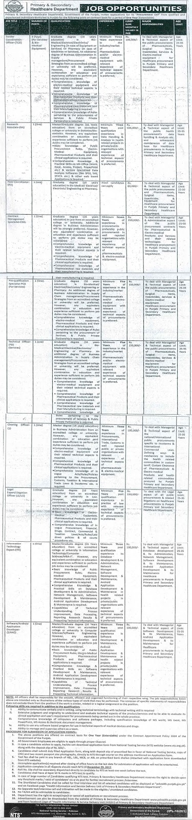 Jobs In Primary And Secondary Healthcare Department Punjab Dec 2017