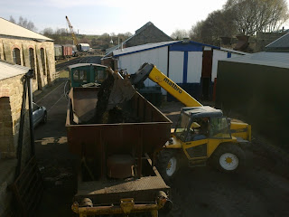 Loading ballast behind Marley Hill shed