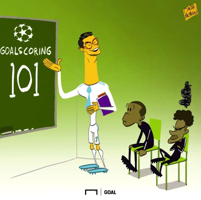 Cristiano Ronaldo, Kylian Mbappe, Neymar cartoon