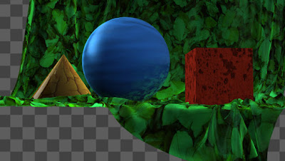 3D scene completely textured and shaded in compositing from AOVs