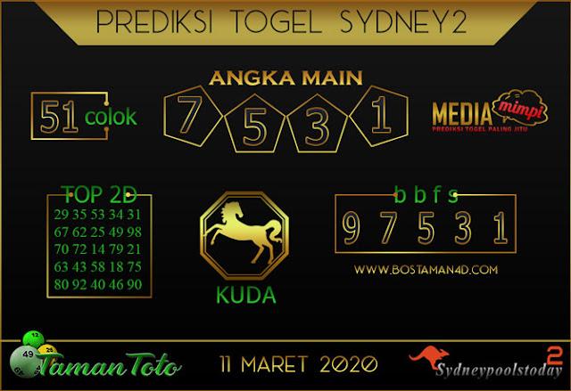 Prediksi Togel SYDNEY 2 TAMAN TOTO 11 MARET 2020