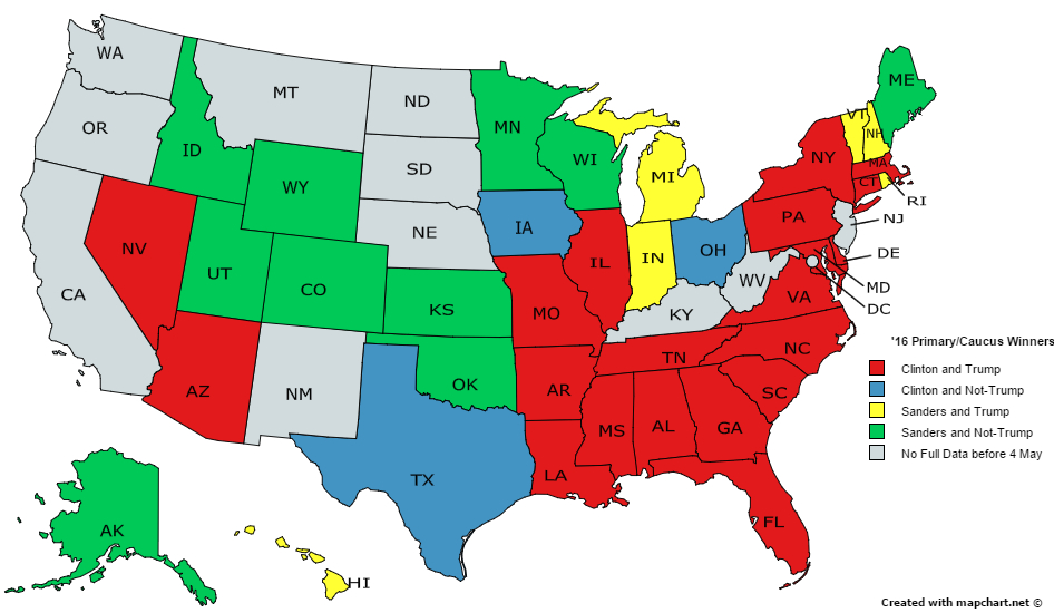 Us Map Democrat Republican States 2016.U S States By 2016 Primary Caucus Winners For Democrats