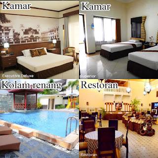 Foto-foto berbagai fasilitas Hotel Pelangi Malang berupa kamar Executive Deluxe, Superior, Kolam Renang Outdoor dan Restoran.