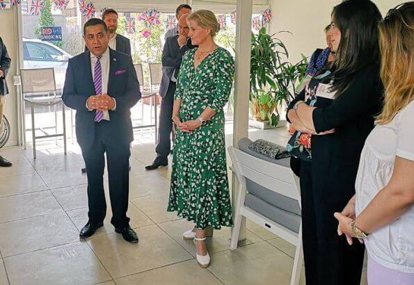 Sophie, Countess of Wessex wore Suzannah stormy hearts longer midi tea dress visit Lebanon