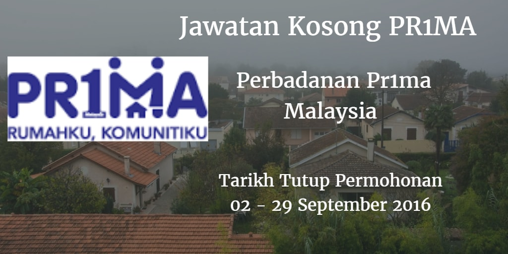 Jawatan Kosong PR1MA 02 - 29 September 2016