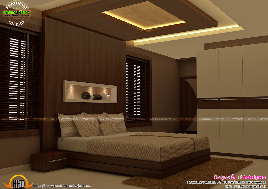 Master bedrooms interior decor kerala home design and for Bed room interior wall design
