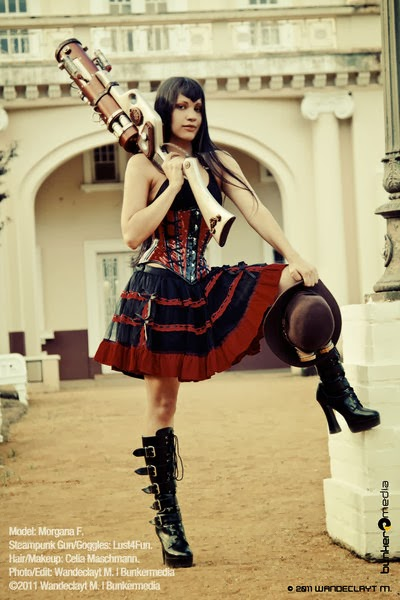 steampunk fashion (women's clothing, gun, hat, boots, skirt, corset)