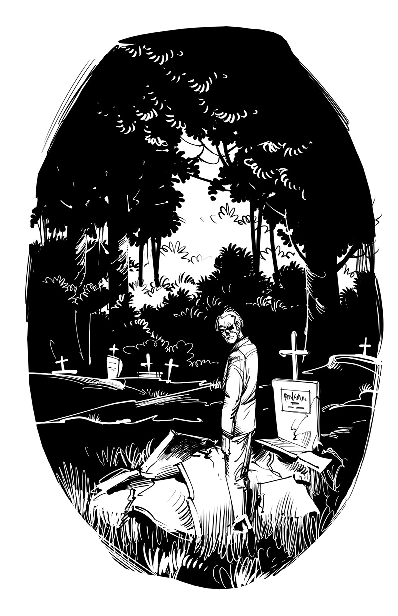 horror magazine illustration uncanny man in graveyard