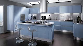 Cocina color celeste