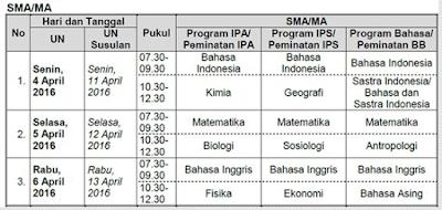 Jadwal Ujian Nasional (UN) SMA/MA/SMK Tahun Ajaran 2015/2016