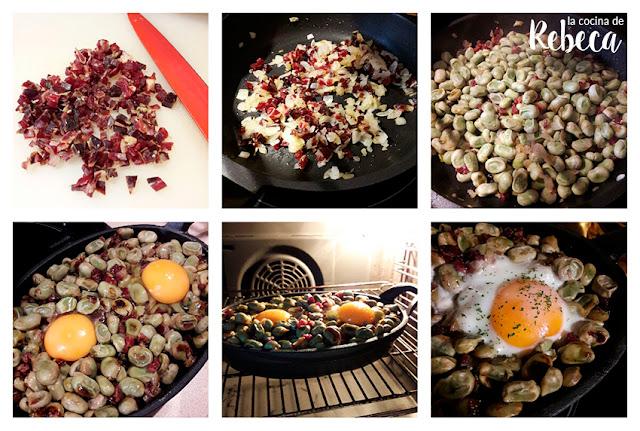 Receta de habas con jamón y huevo 02