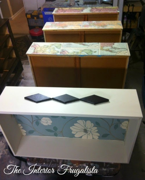 MCM Dresser Makeover with lined drawers and map drawer fronts