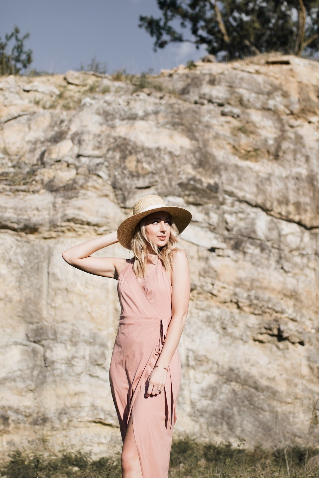 dusty rose pink wrap dress