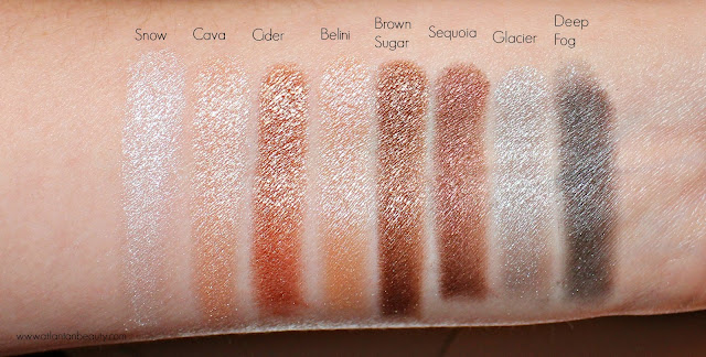 Swatches of the second row of shimmer shades from the Lorac Mega Pro 3 Palette